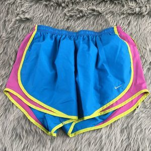 Nike Dri-Fit Teal Neon Shorts Large Polyester Neon
